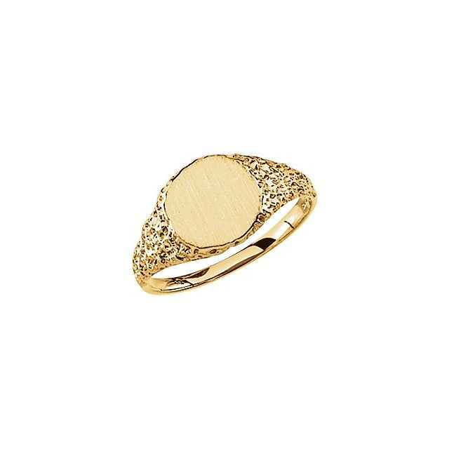 14K Yellow 9 mm Round Signet Ring