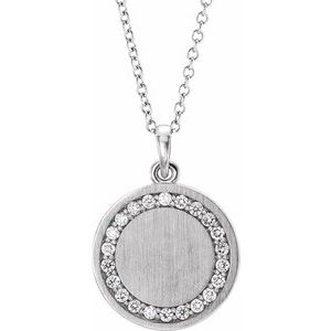 "Sterling Silver 1/5 CTW Diamond Engravable 16-18"" Necklace"