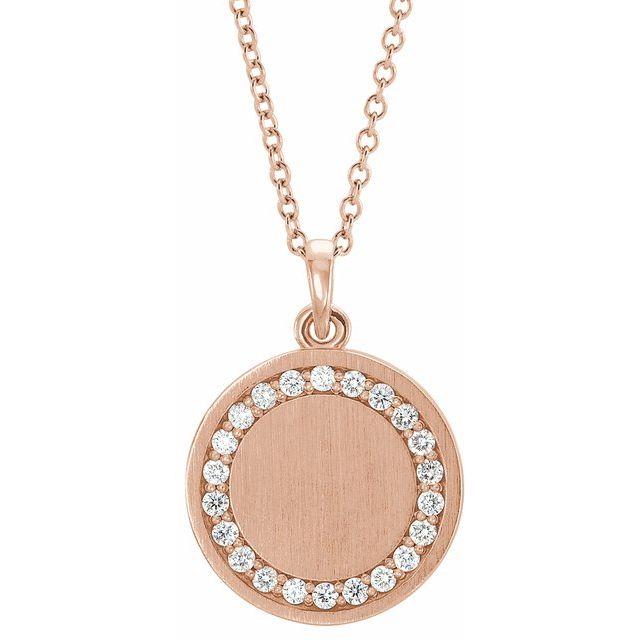 14K Rose 1/5 CTW Diamond Engravable 16-18