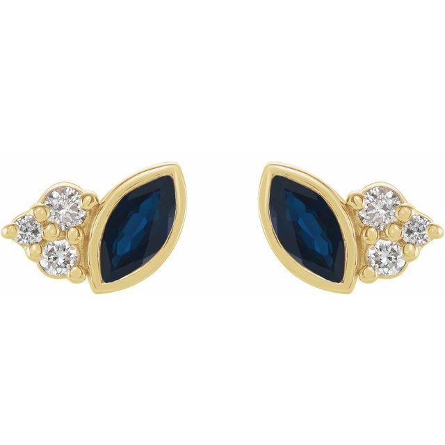 14K Yellow Blue Sapphire & .05 CTW Diamond Earrings