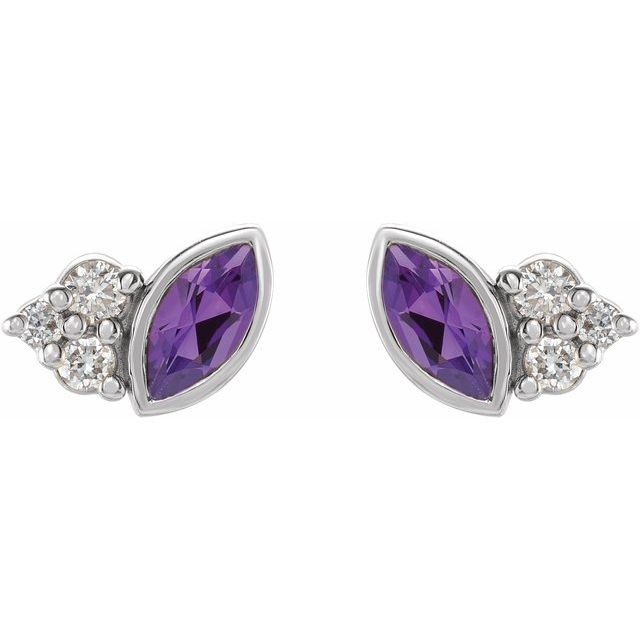 14K White Amethyst & .05 CTW Diamond Earrings