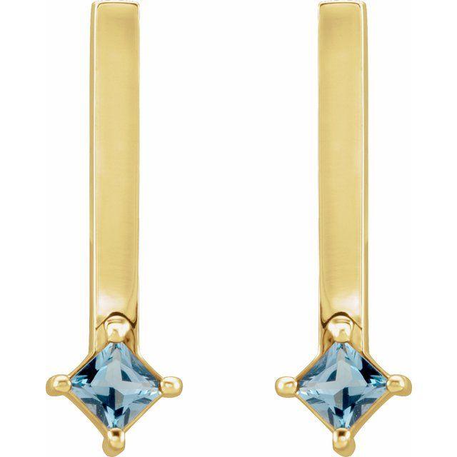 14K Yellow London Blue Topaz Bar Drop Earrings