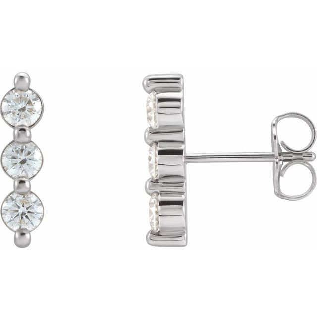 14K White 5/8 CTW Diamond Three-Stone Bar Earrings