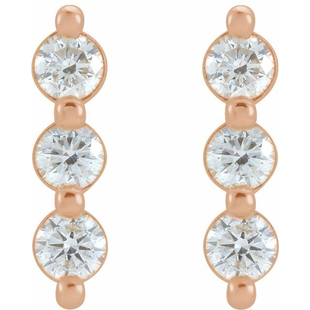 14K Rose 5/8 CTW Diamond Three-Stone Bar Earrings