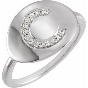 14K White Initial C .08 CTW Diamond Ring