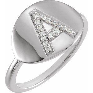 14K White Initial L .05 CTW Diamond Ring