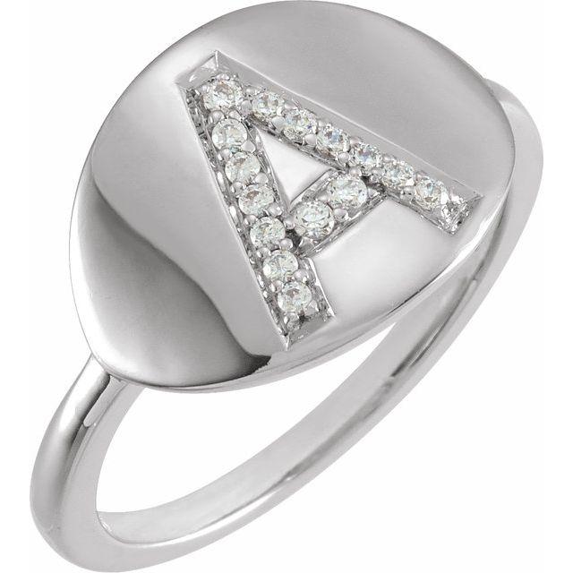 14K White Initial E 1/10 CTW Diamond Ring