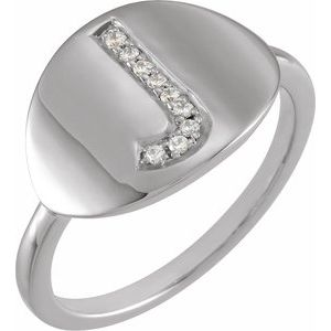 14K White Initial J .05 CTW Diamond Ring
