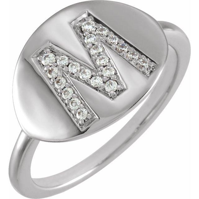 14K White Initial M 1/8 CTW Diamond Ring