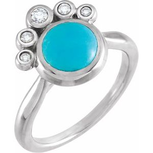14K White Bluebird Turquoise & 1/8 CTW Diamond Ring