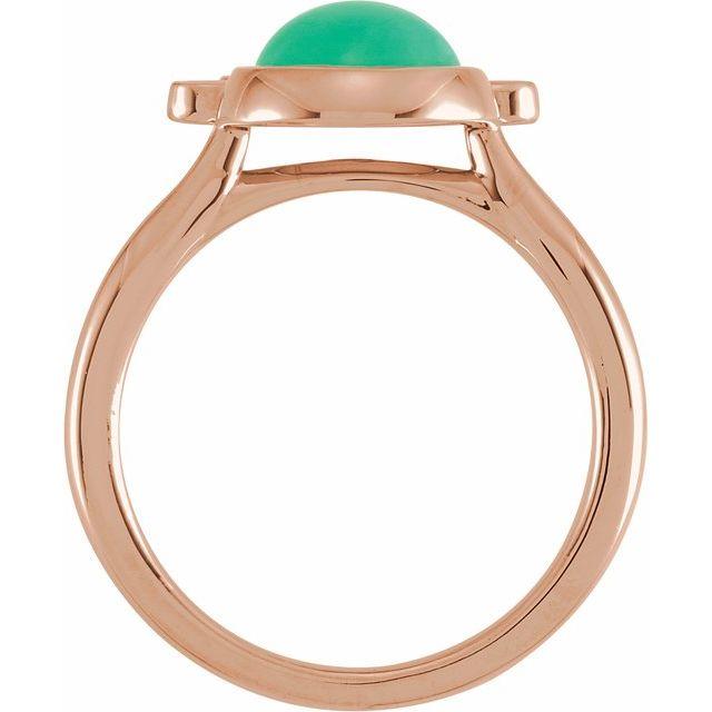 14K Rose Chrysoprase & 1/8 CTW Diamond Ring