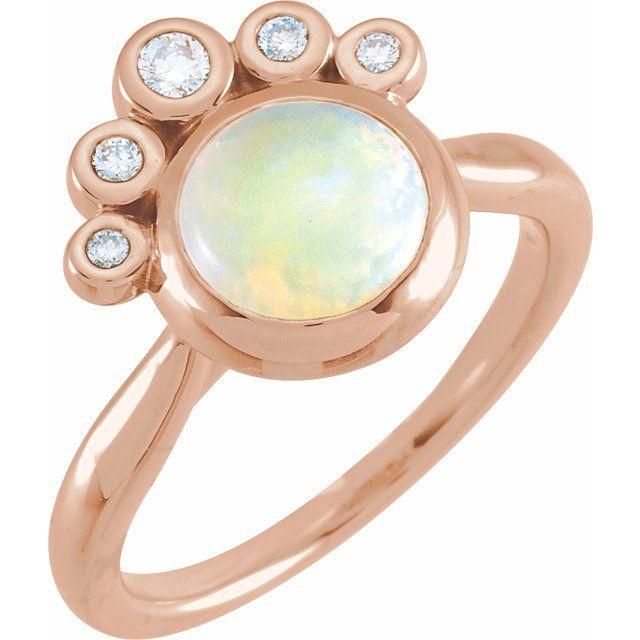 14K Rose Opal & 1/8 CTW Diamond Ring