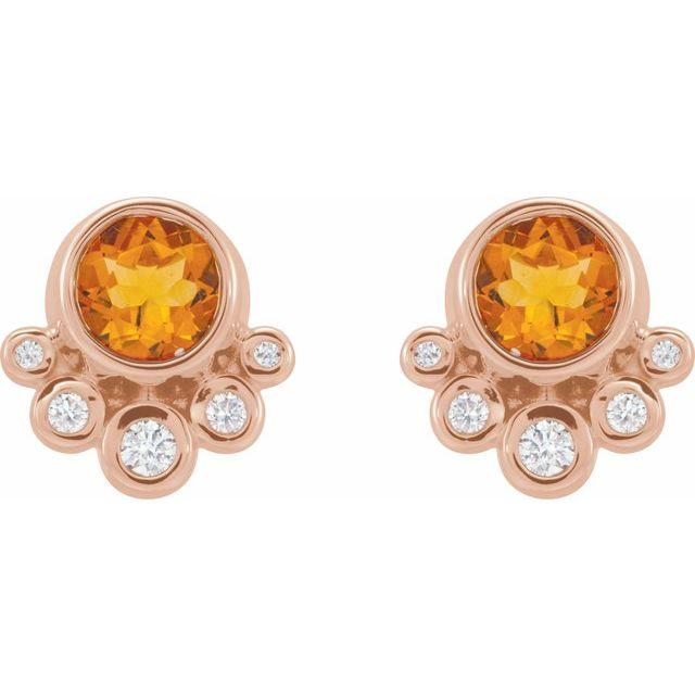 14K Rose Citrine & 1/8 CTW Diamond Earrings