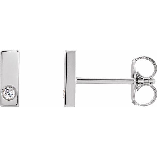 14K White .03 CTW Diamond Bar Earring