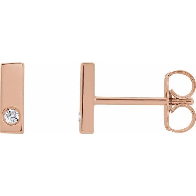 14K Rose .03 CTW Diamond Bar Earring