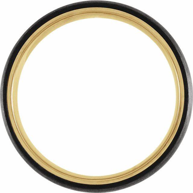 18K Yellow Gold PVD Titanium & Carbon Fiber 6 mm Half Round Band Size 10