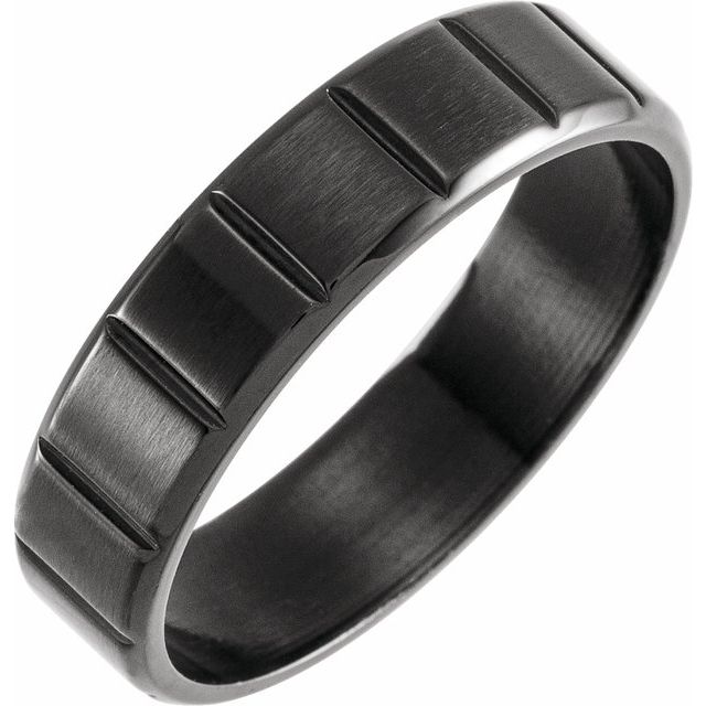 Black PVD Titanium 6 mm Grooved Band Size 8.5