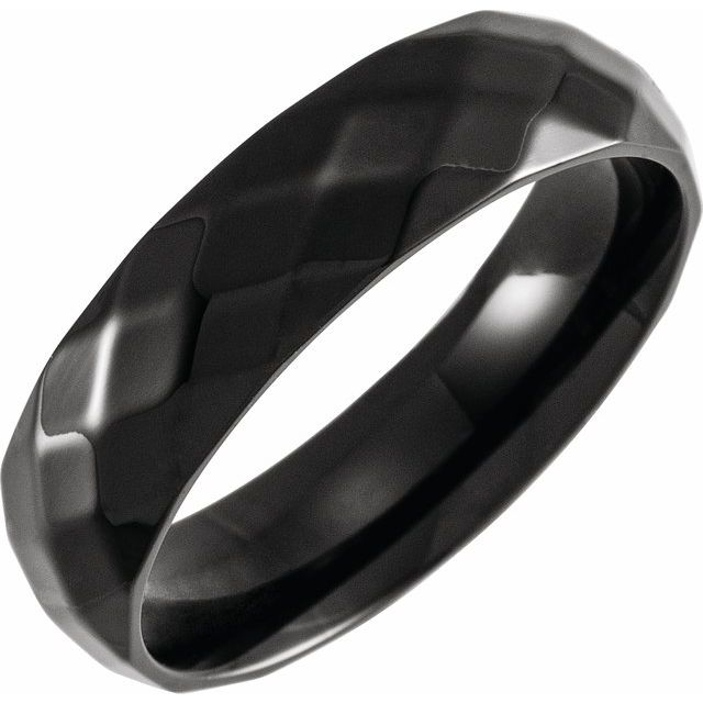 Black PVD Titanium 6 mm Faceted Band Size 9.5