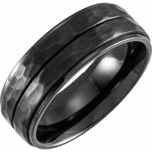 Black Titanium 8 mm Grooved Flat Edge Band Size 12.5