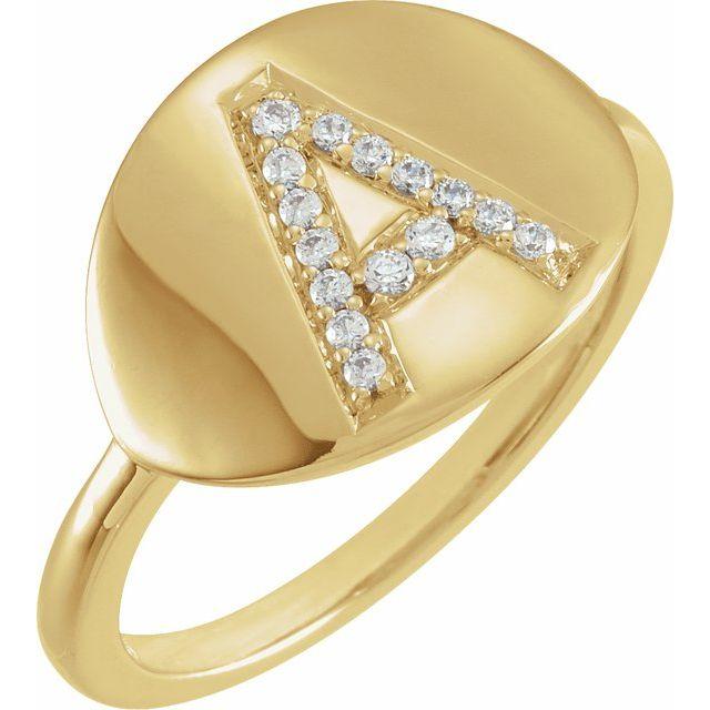14K Yellow Initial A 1/10 CTW Diamond Ring