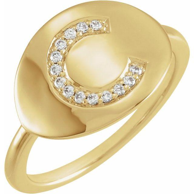 14K Yellow Initial C .08 CTW Diamond Ring