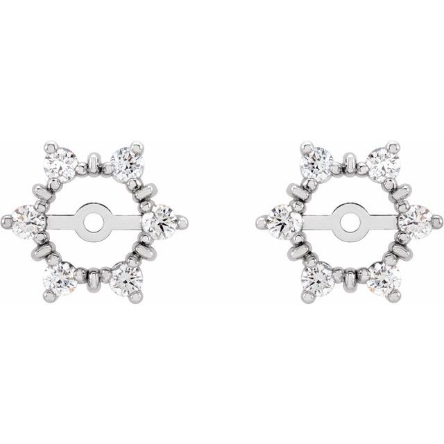 14K White 1/4 CTW Diamond Earring Jackets with 4.7 mm ID