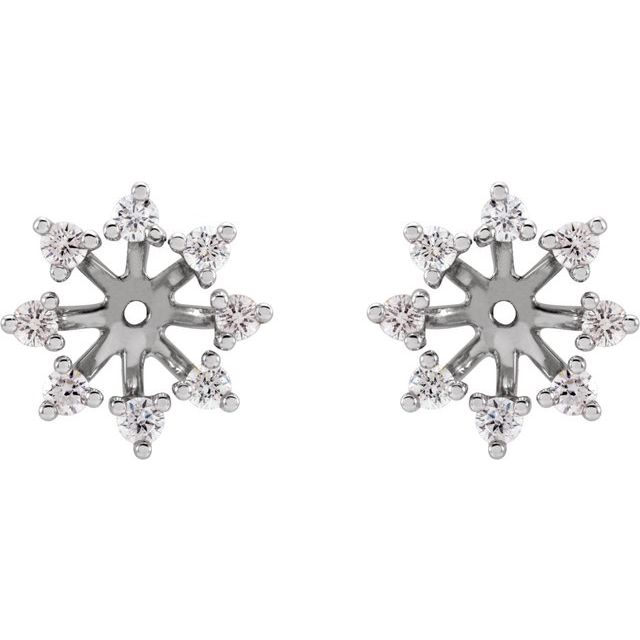 14K White 1/2 CTW Diamond Earring Jackets with 6 mm ID