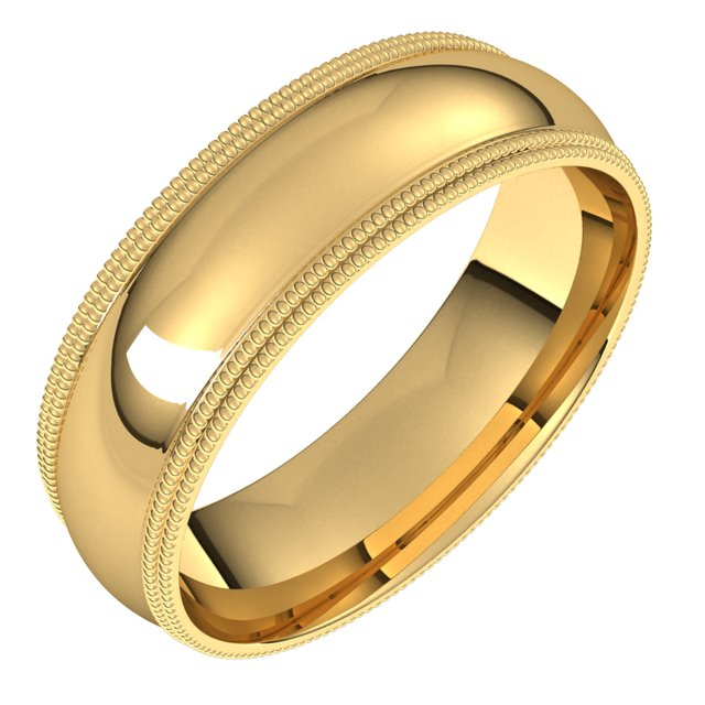 14K Yellow 6 mm Double Milgrain Half Round Comfort Fit Band Size 10.5