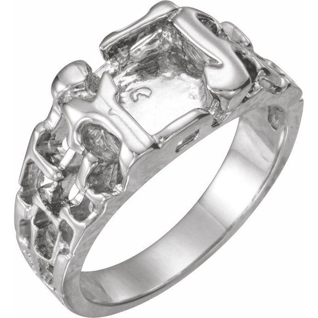 14K White 11 mm Nugget Ring