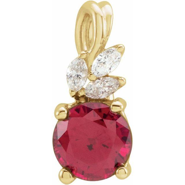 14K Yellow Chatham® Created Ruby & 1/10 CTW Diamond Pendant