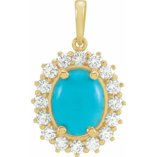 14K Yellow Turquoise & 1/2 CTW Diamond Pendant