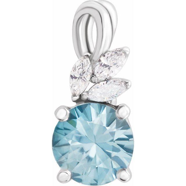 14K White Blue Zircon & 1/10 CTW Diamond Pendant