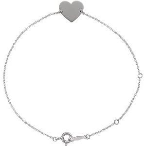 """Sterling Silver Heart 7-8"""" Bracelet"""