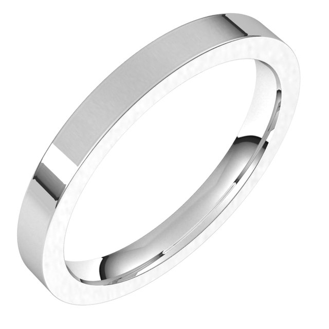 Sterling Silver 2.5 mm Flat Comfort Fit Band Size 8.5