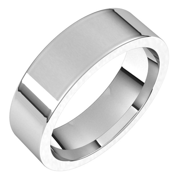 14K White 6 mm Flat Comfort Fit Band Size 13