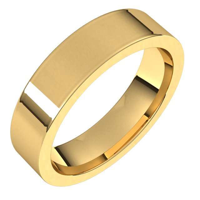 14K Yellow 5 mm Flat Comfort Fit Band Size 8