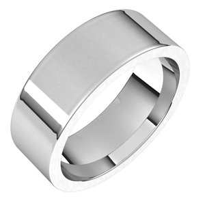14K X1 White 7 mm Flat Comfort Fit Band Size 14.5