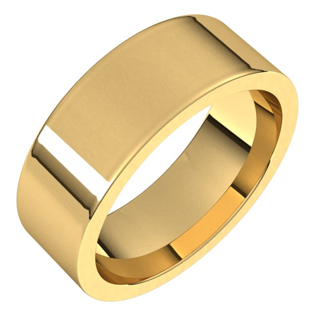 14K Yellow 7 mm Flat Comfort Fit Band Size 10.5