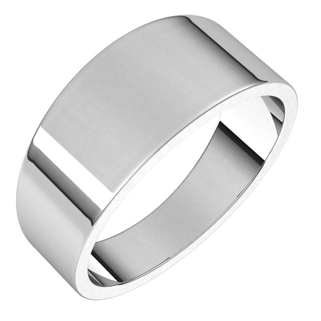 14K White 8 mm Flat Tapered Band Size 8