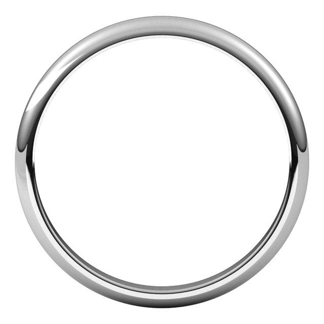 Platinum 2.5 mm Half Round Band Size 7