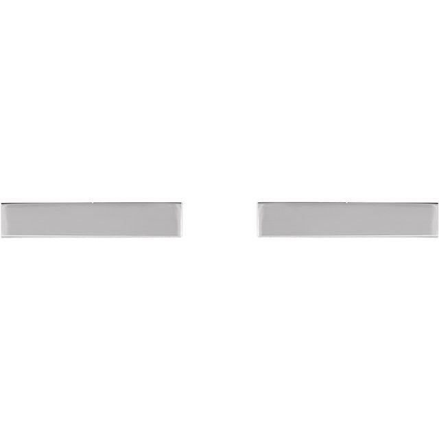 14K White Bar Earring