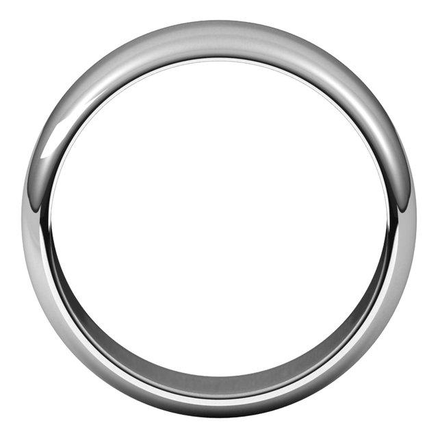 14K White 7 mm Half Round Band Size 10