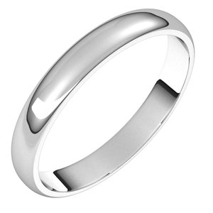 Sterling Silver 3 mm Half Round Light Band Size 8.5