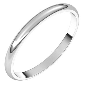 Sterling Silver 2 mm Half Round Light Band Size 6