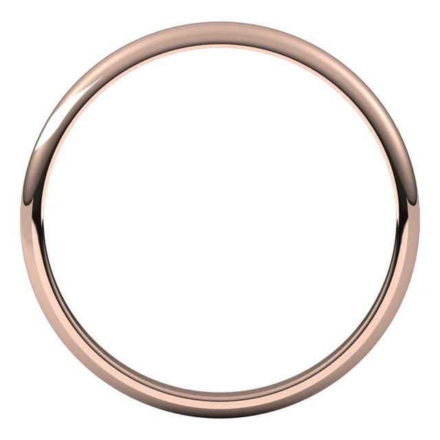14K Rose 2 mm Half Round Light Band Size 6.5