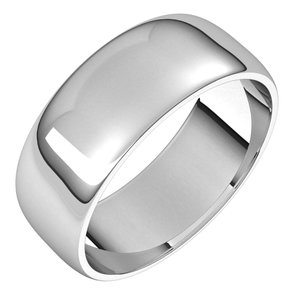 Sterling Silver 7 mm Half Round Light Band Size 6.5