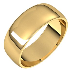 18K Yellow 7 mm Half Round Light Band Size 7