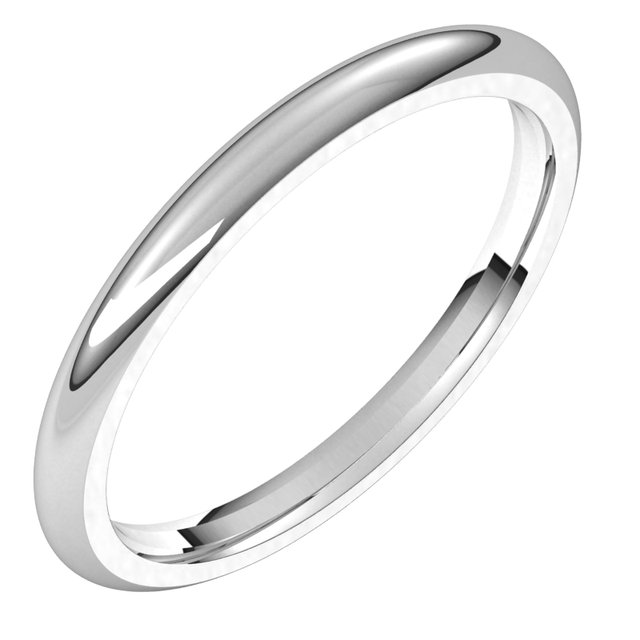 14K White 2 mm Half Round Comfort Fit Band Size 6.5