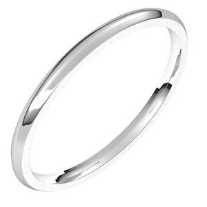 14K White 1.5 mm Half Round Comfort Fit Light Band Size 10