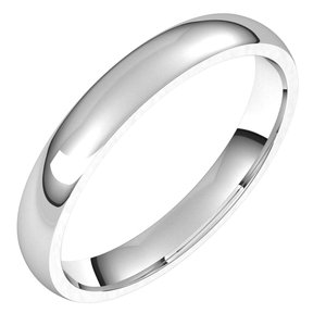 Platinum 3 mm Half Round Comfort Fit Light Band Size 13.5